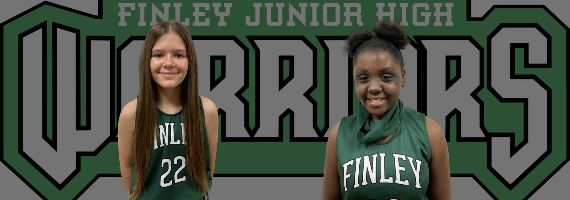 2 girls in their basketball uniforms before the school logo
