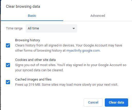 Clear data in Chrome