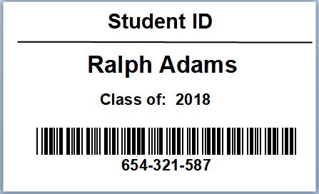 photo of a sample student bar code
