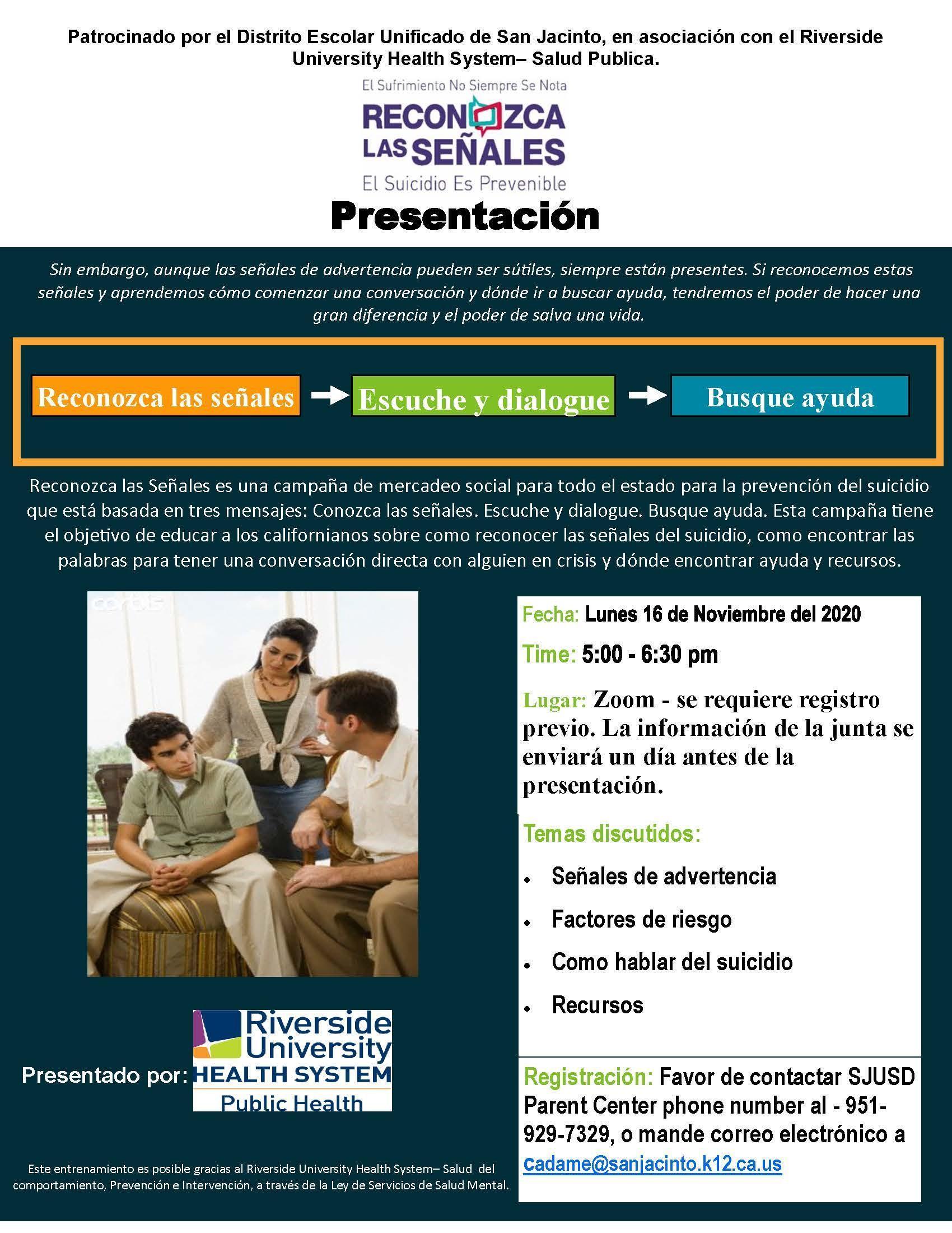 taller para padres de prevención del suicidio