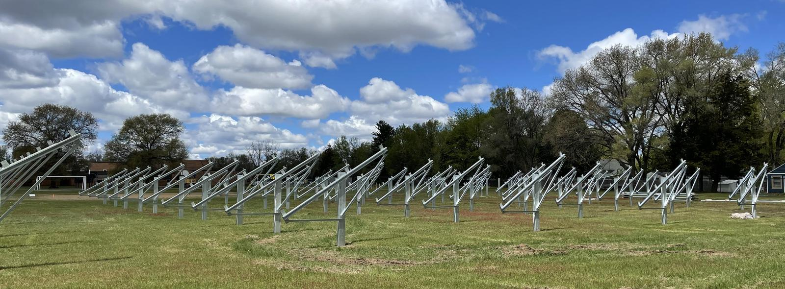 view of solar array field at a school