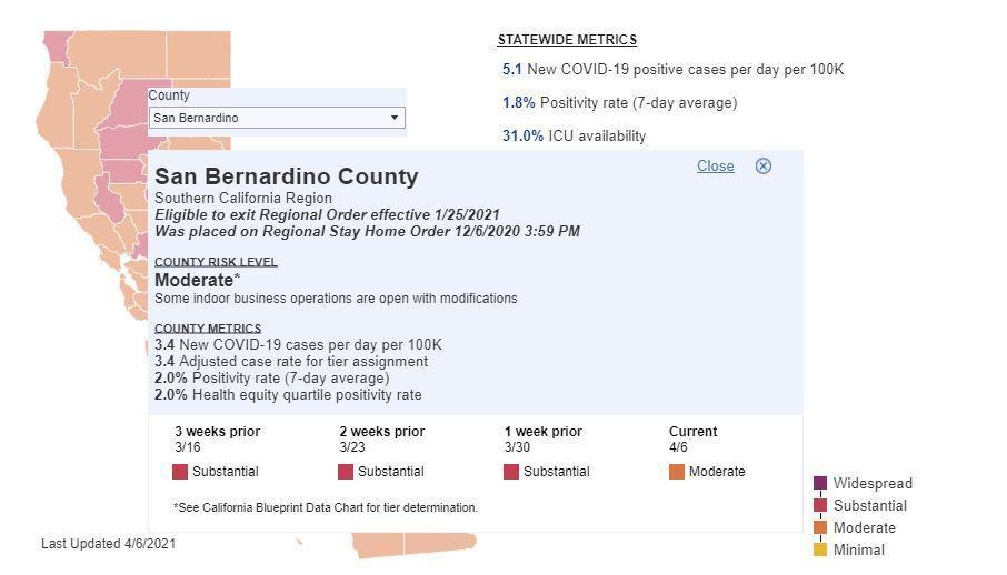 San Bernardino County COVID map