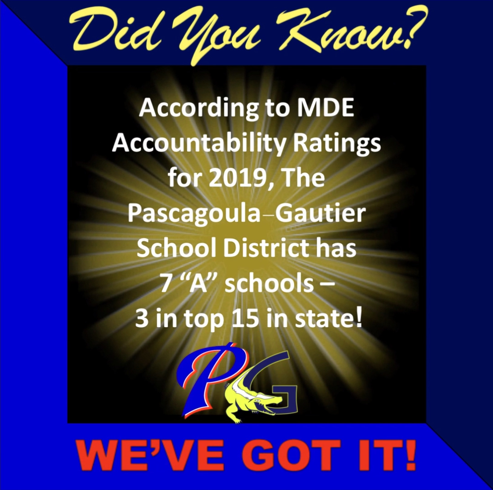 According to MDE Accountability Ratings for 2019, PGSD has 7 A schools - 3 in the top 15 in the state