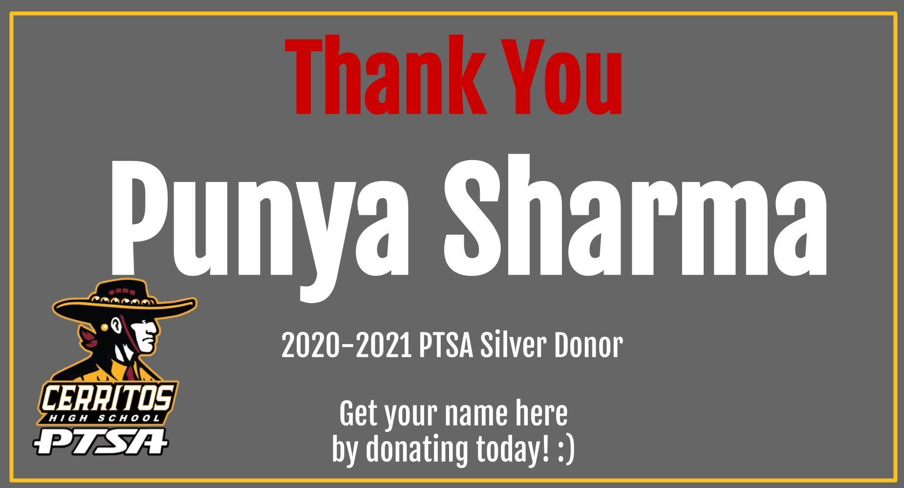 Thank You Punya Sharma PTSA Donor
