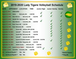 McComb High School Volleyball Team and Schedule 2019-2020