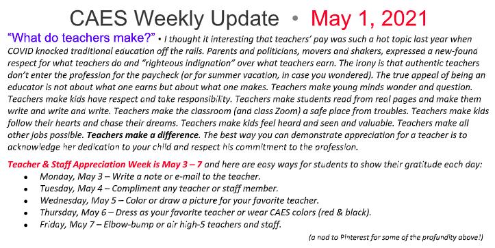 Screenshot of part of May 1 Weekly Update