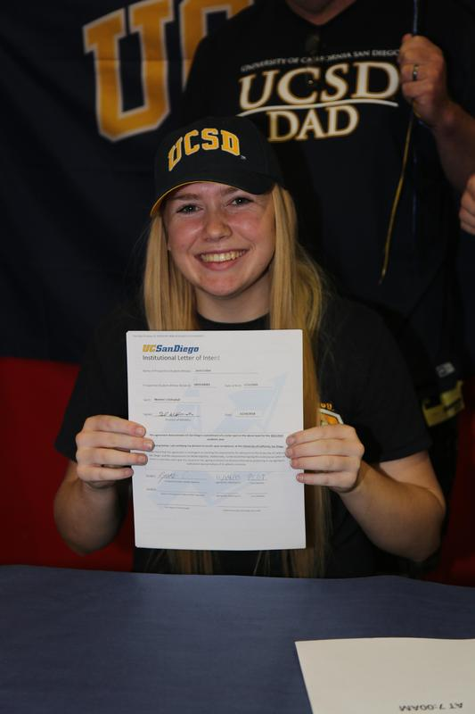 Josie Collier holding her Letter of Intent