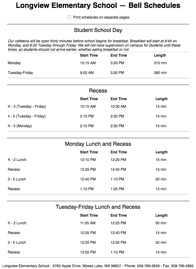 Longview Bell Schedule (Text version available on Longview website)