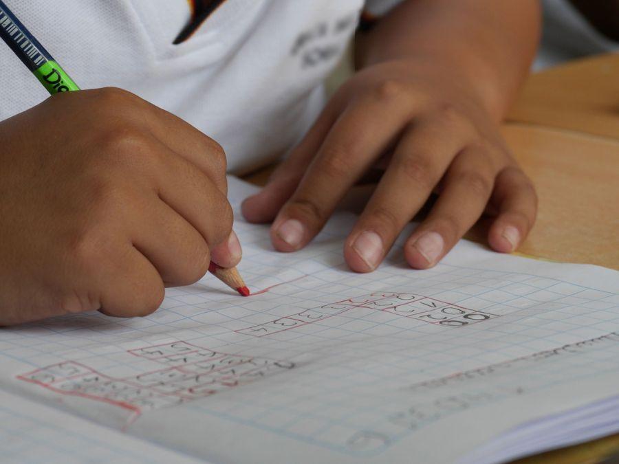 close up of student doing homework