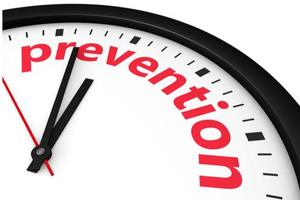 Image of a clock with the words prevention.