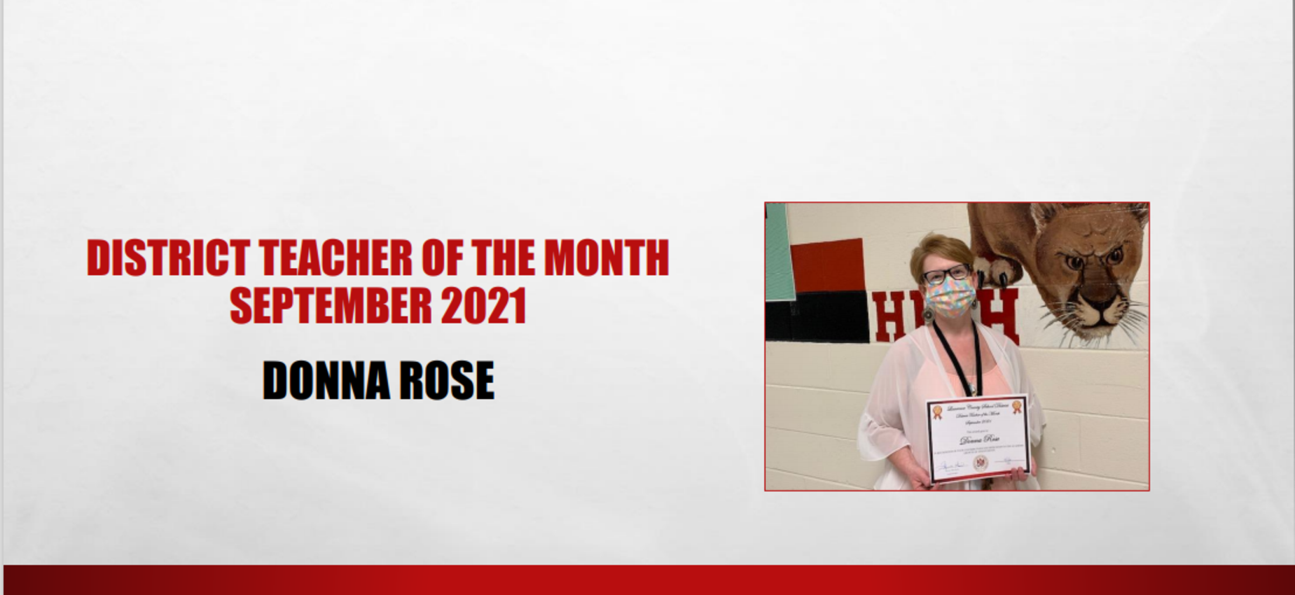 September 2021 District Teacher of the Month Donna Rose