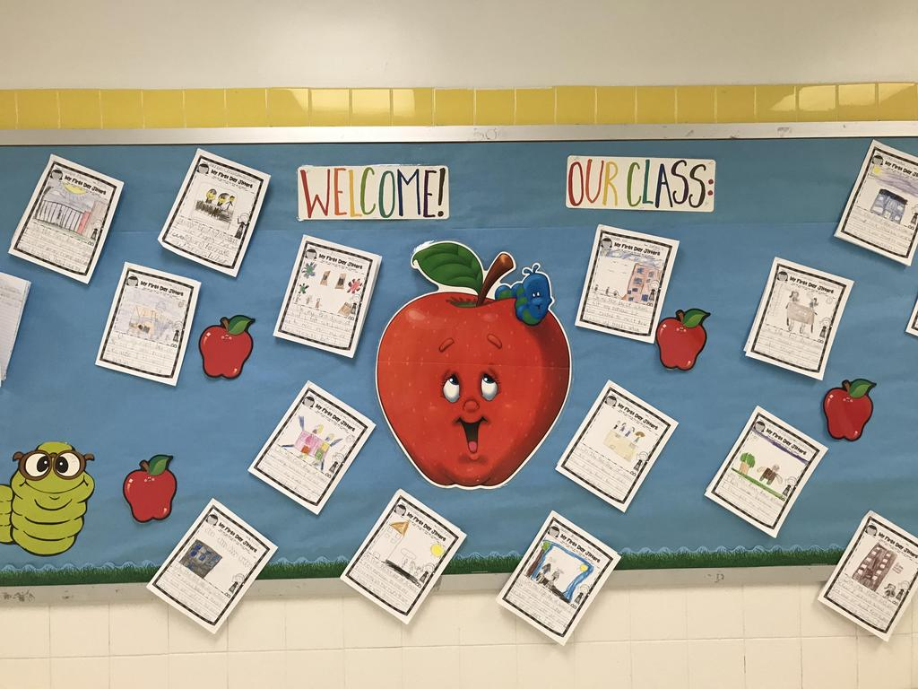 bulletin board display: welcome to our class picture with what they did this summer
