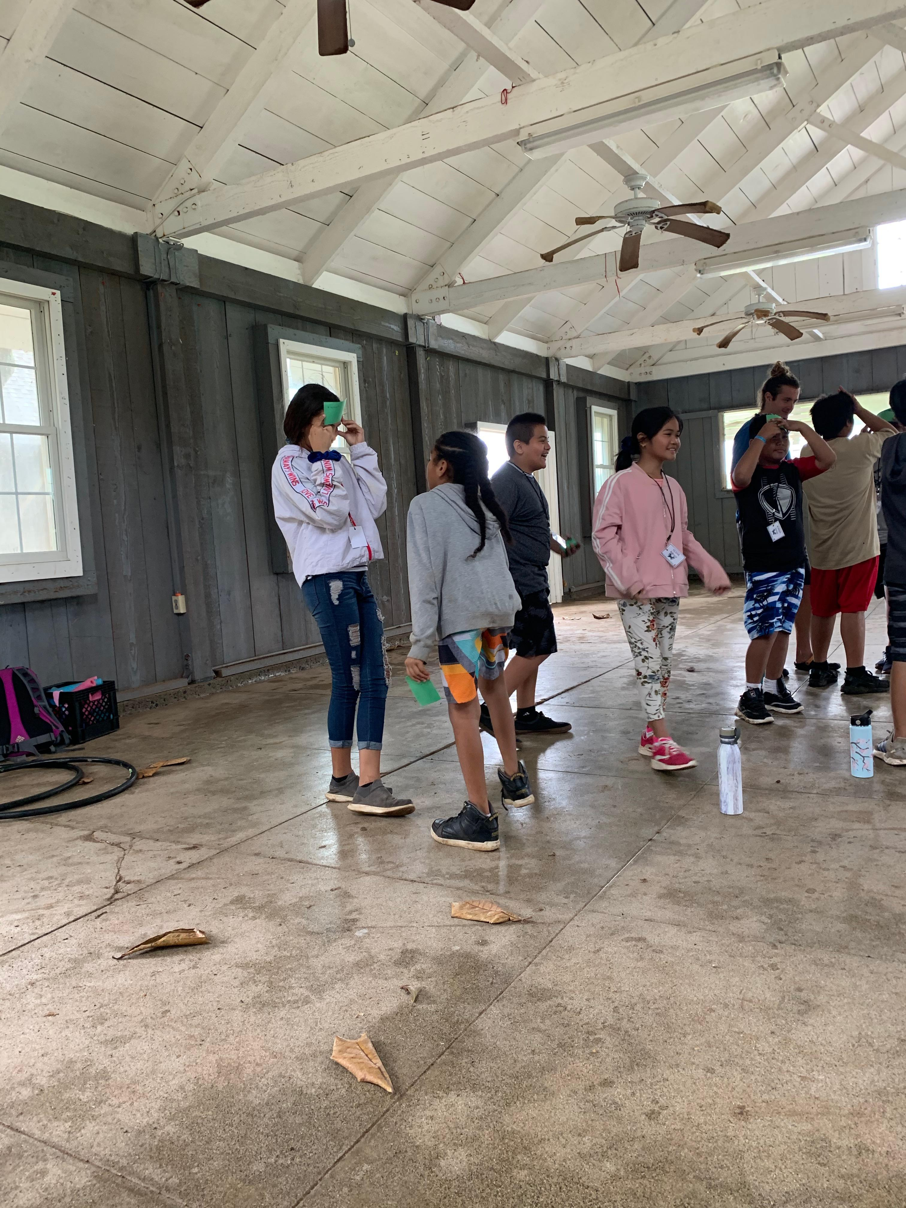 Fifth graders at Camp Erdman doing a group activity