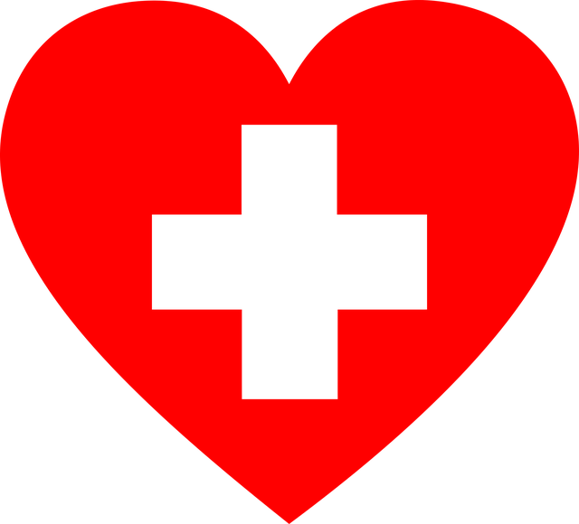 Heart with first aid symbol inside.
