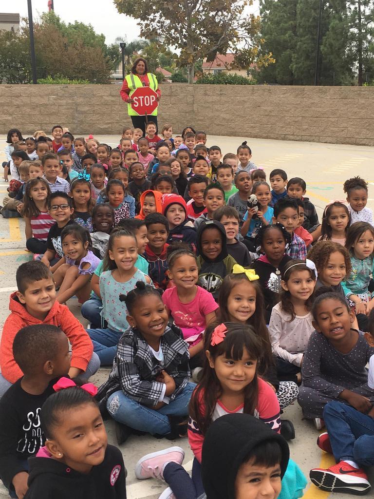 Kindergarten Students at Crosswalk Safety Event