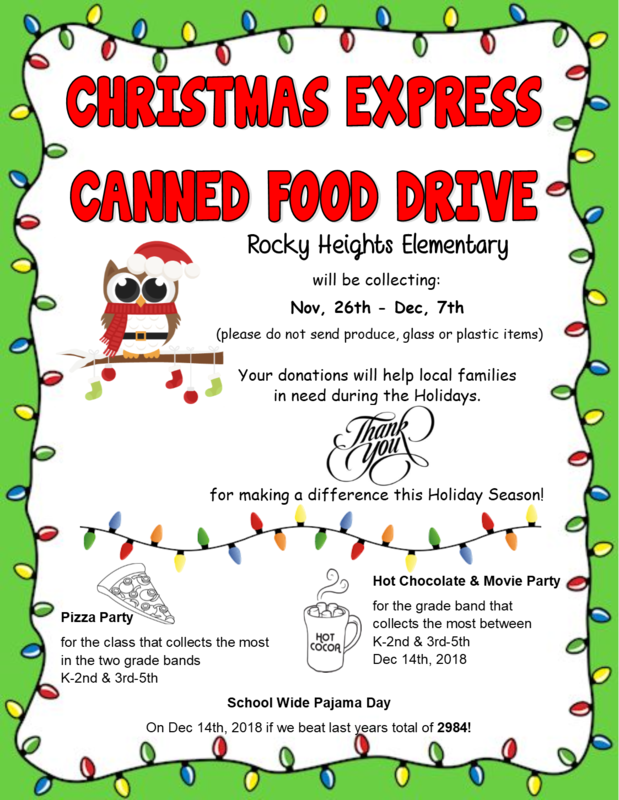 Flyer explaining details of the canned food drive.