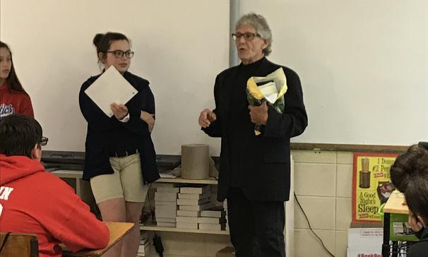 Mr. Darrell Bourque visited a seventh grade class.