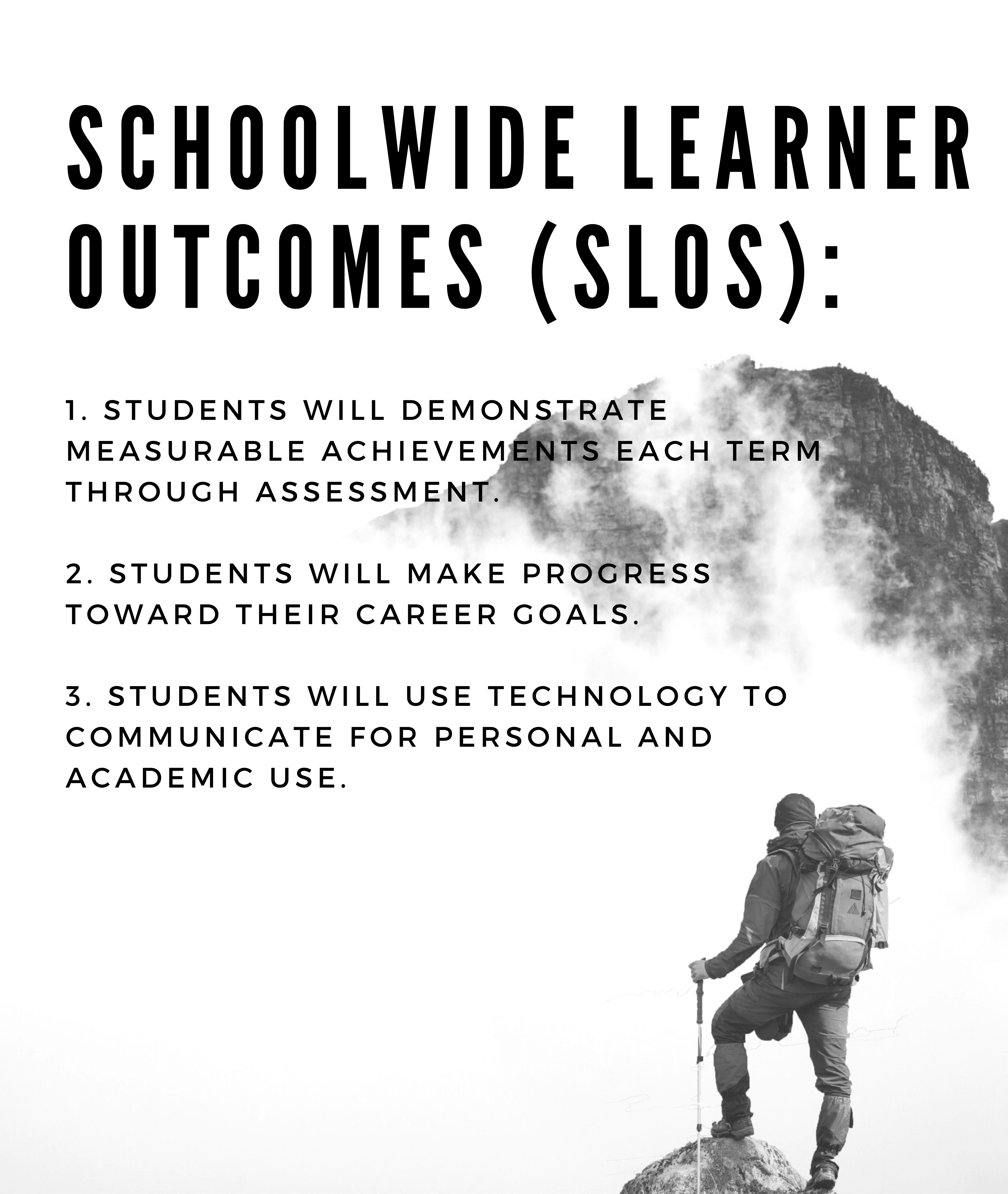 Schoolwide learner outcomes (SLOS): 1. Students will demonstrate measurable achievements each term through assessment 2. Students will make progress toward their career goals. 3. Students will use technology to communicate for personal and academic use.