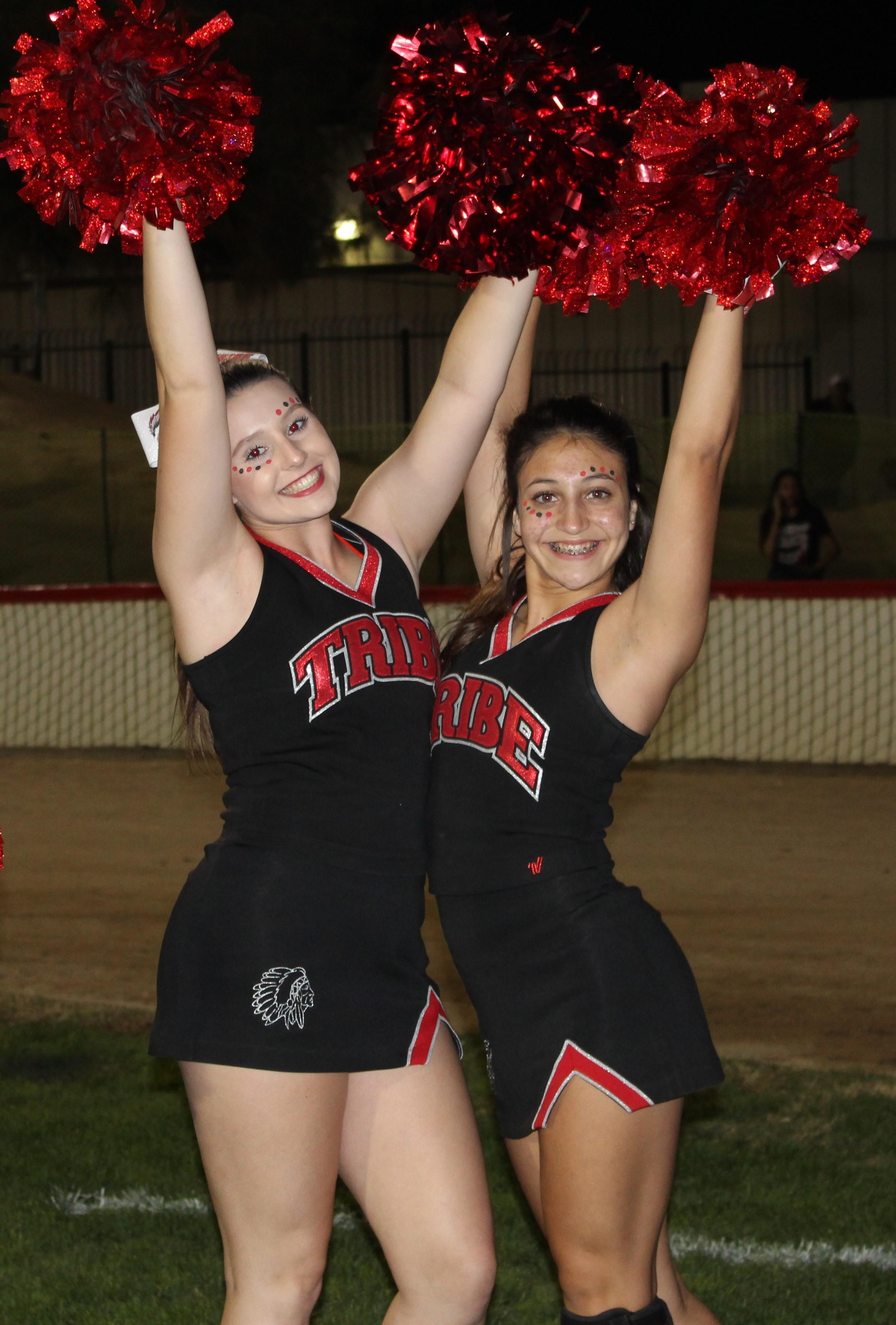 Cheerleaders at playoff football game against Highland