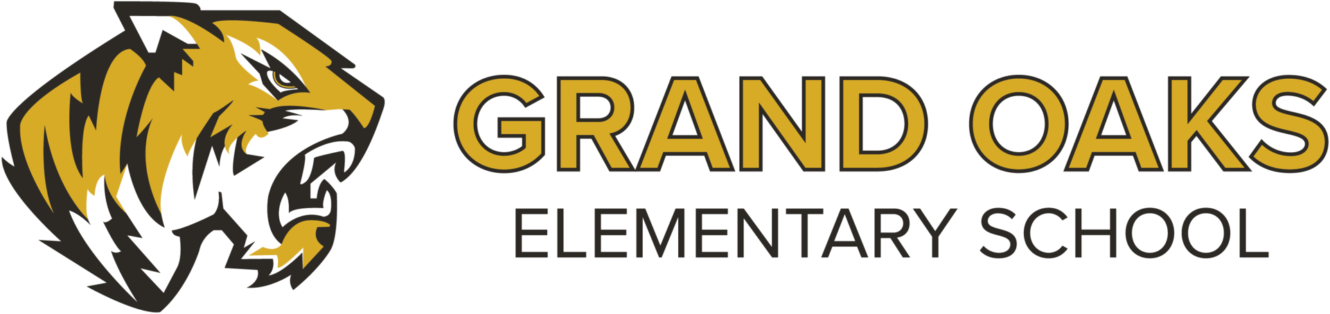 Grand Oaks Elementary School Logo with Tiger