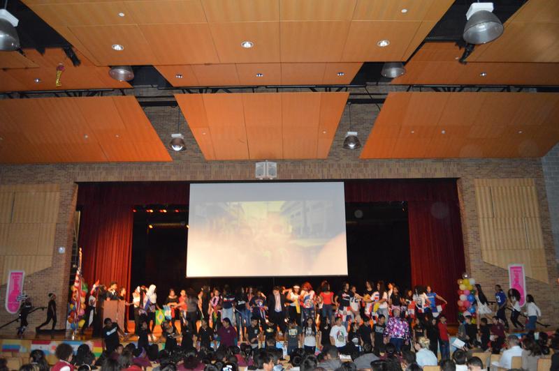 Students on-stage during Hispanic Heritage Celebration.