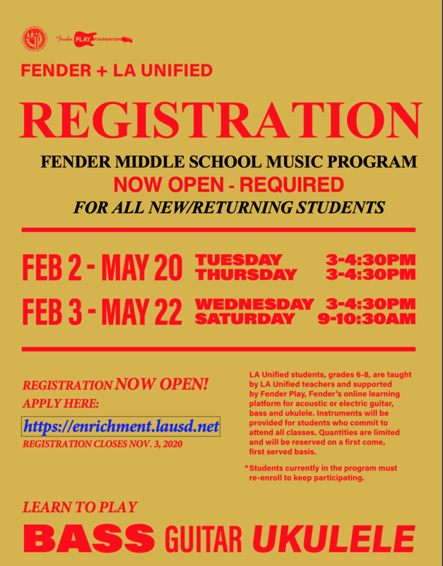 Registration for Music Enrollment Class Guitar, Bass and Ukulele by Fender Featured Photo