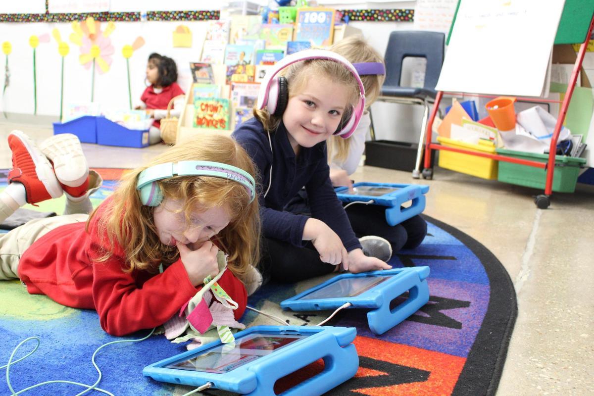 Kindergartners with iPads