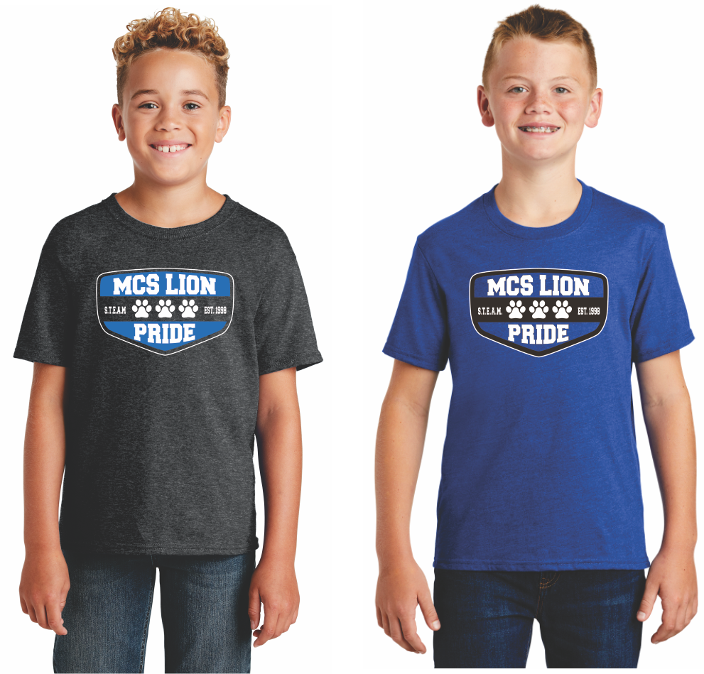 MCS Spirit Tshirts shown in gray and blue