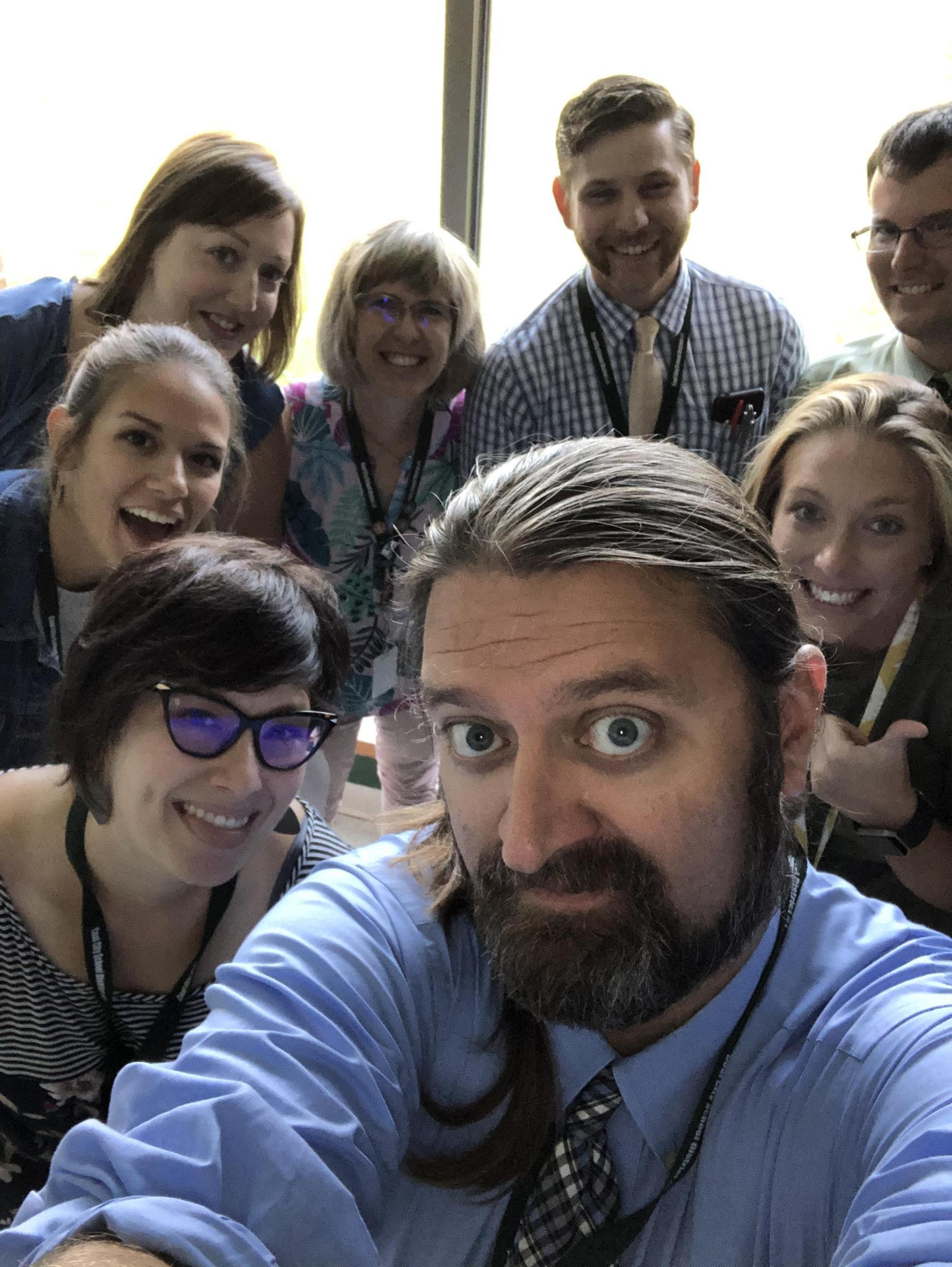 Many school staff selfie.