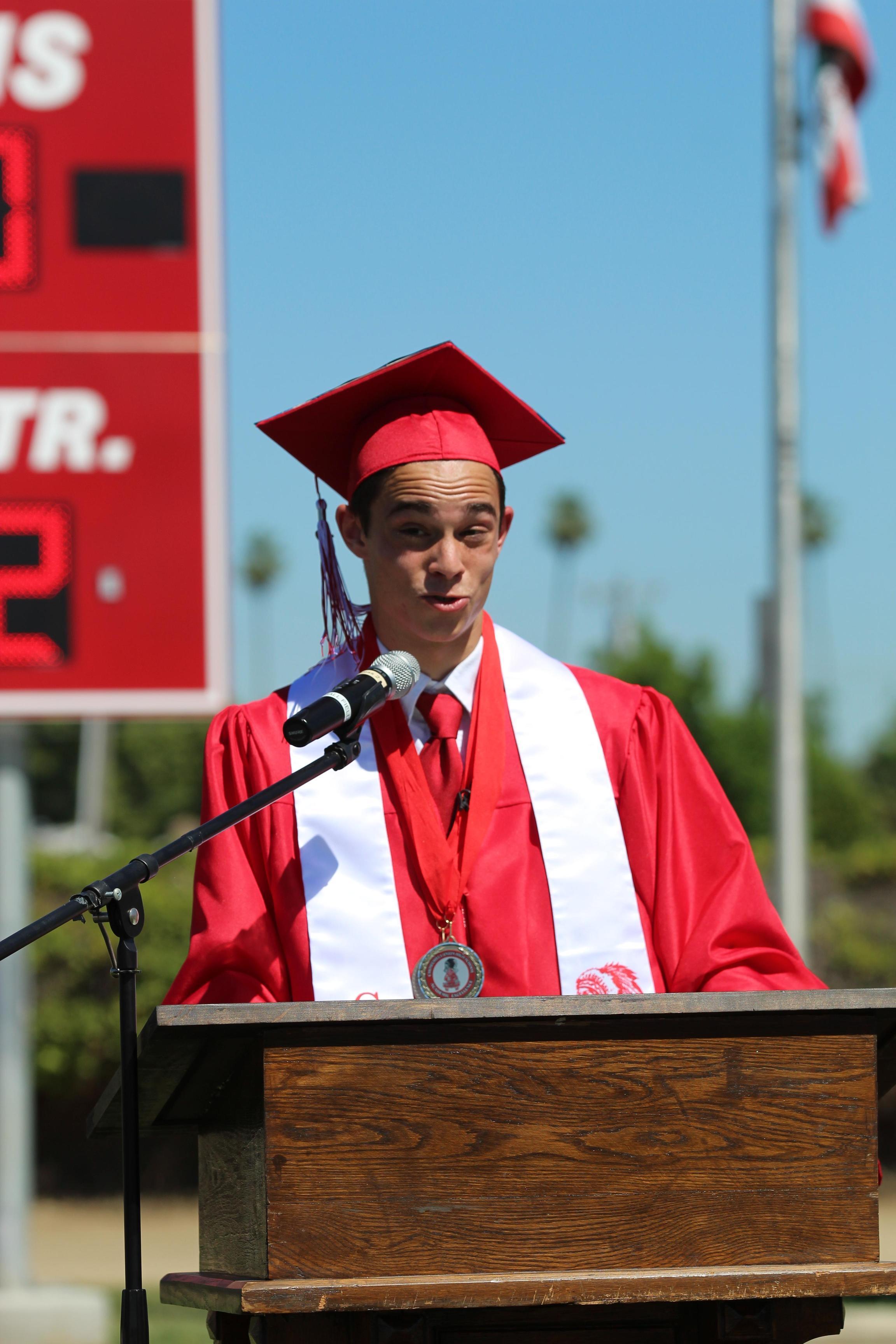 Valedictorian Dylan Tomlinson speaking
