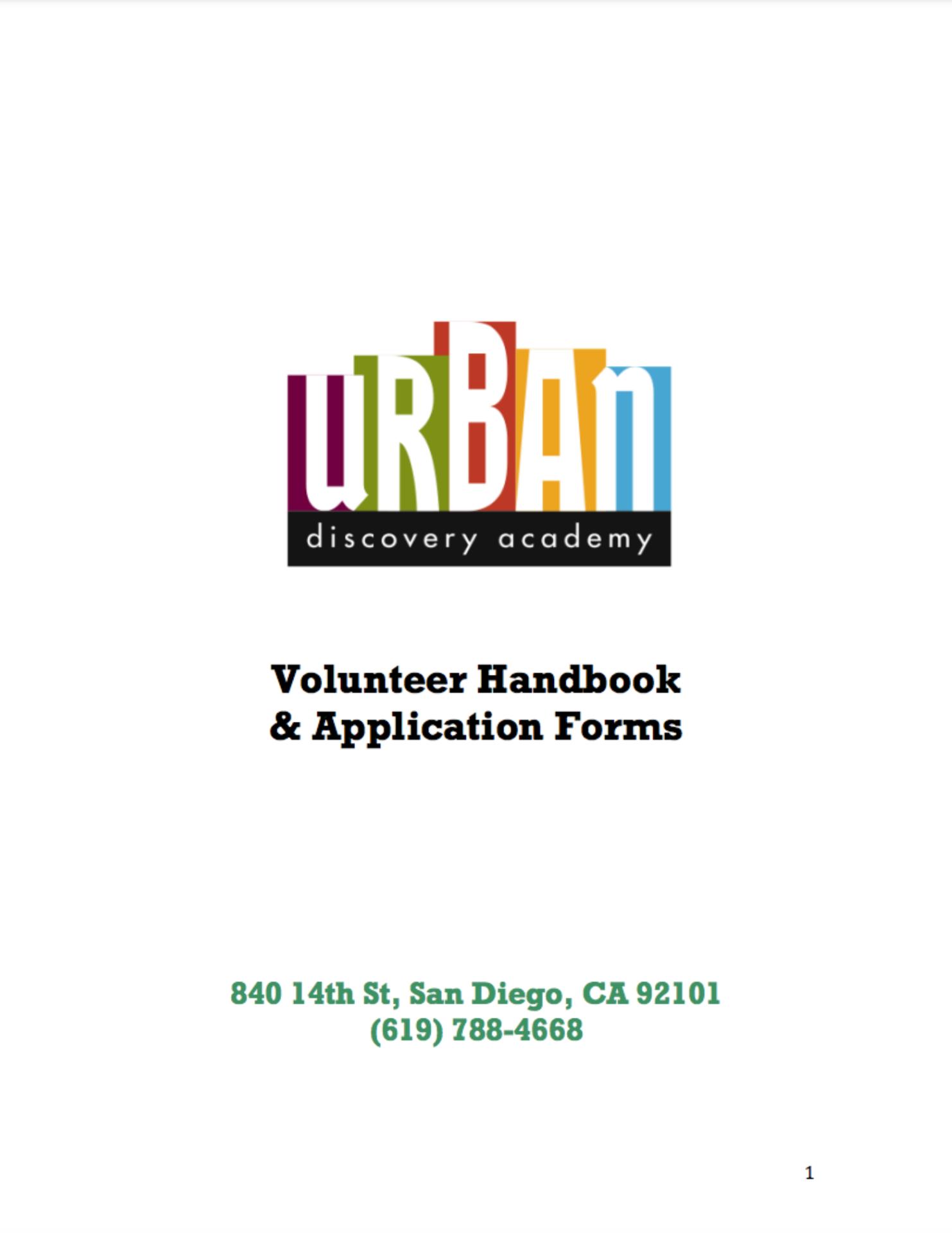 Urban Discovery Schools Volunteer Handbook