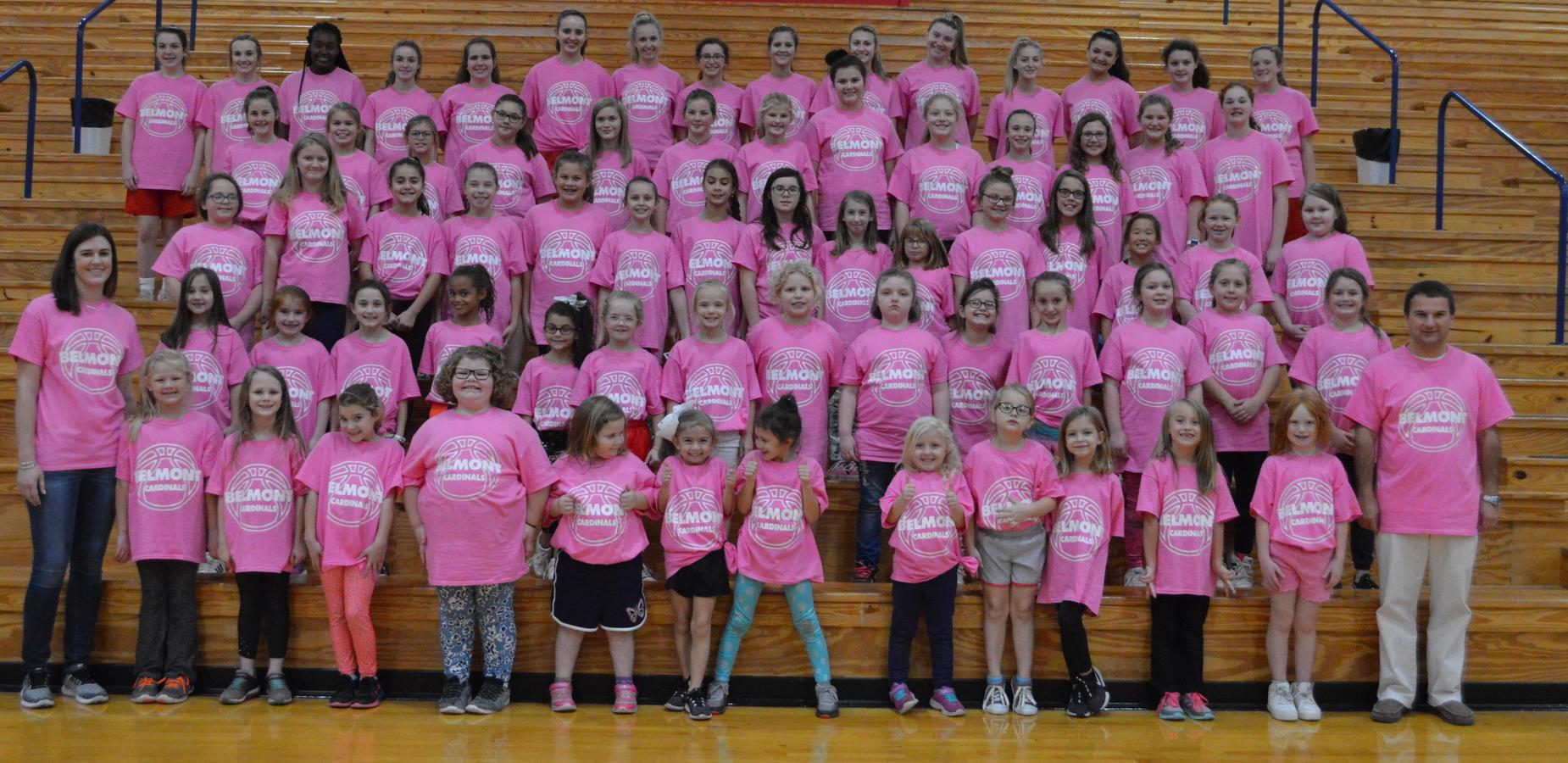 Lady Cardinals host a basketball camp for girls in Kindergarten - 6th Grade