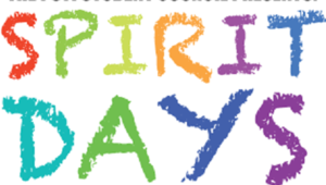 an image of the words spirit days in rainbow colors