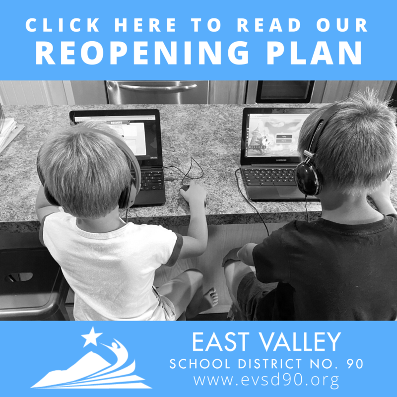 Click here to read our reopening plans with a picture of two kids working at home on their Chromebooks.