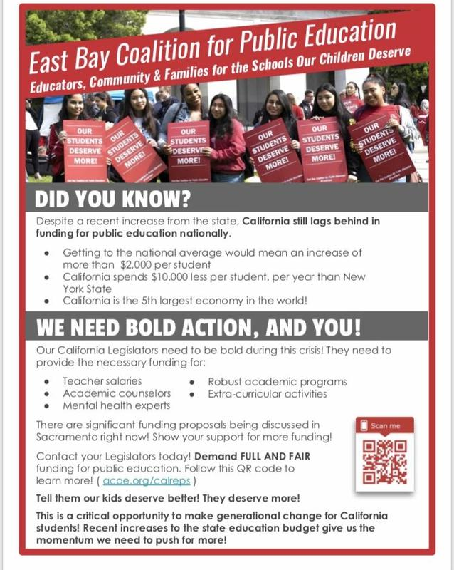 You can help by joining with the East Bay Coalition for Public Education by contacting your state and local representatives.