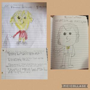 2 drawings of Jefferson with 1 set of facts