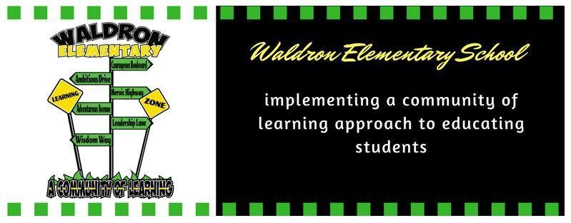 image referencing a community of learning, green dashed outline with white lettering on a black background