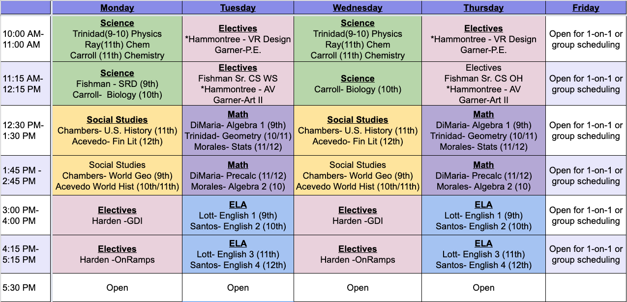 Teacher Video Lesson Schedule