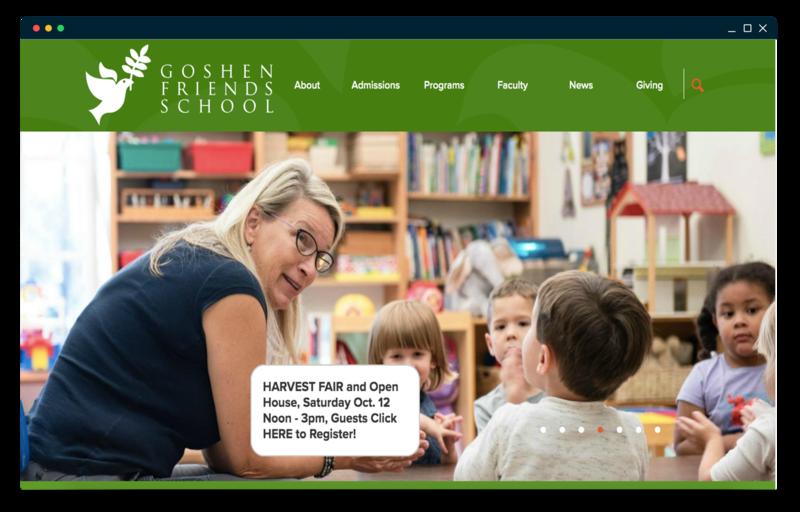 Goshen Friends School homepage screenshot
