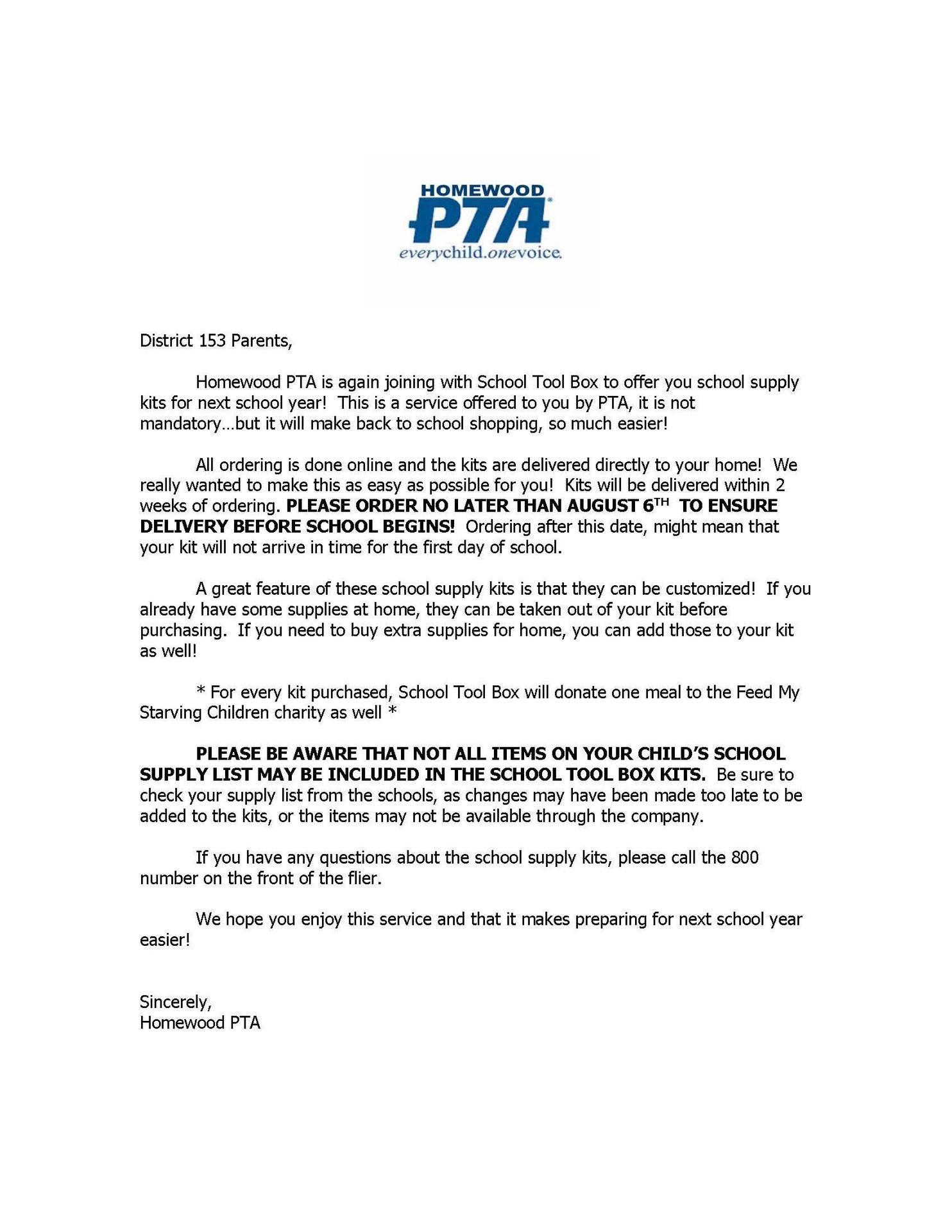 PTA letter