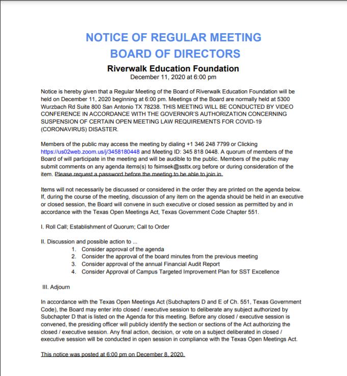 Notice of Regular Meeting Board of Directors Featured Photo