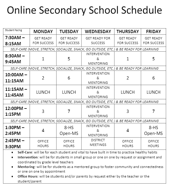 Secondary School Schedule