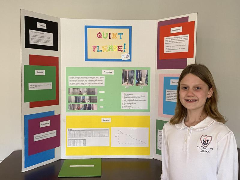 Two St. Timothy's students advanced to the state Science and Engineering Fair competition.