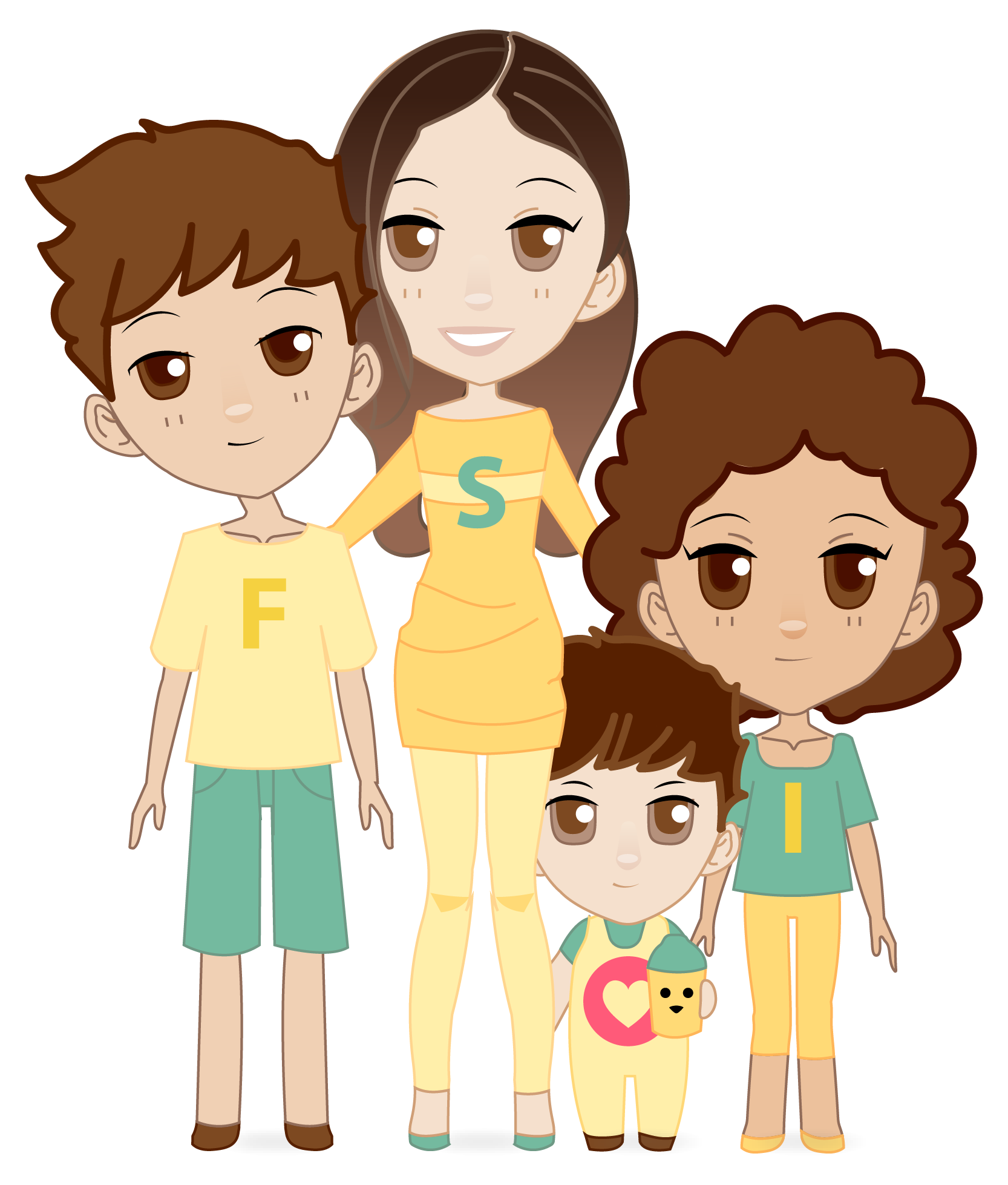 cartoon of a possible family unit with a parent and several children. The letters 'F,' 'S,' and 'I' appear on the shirts of the individuals