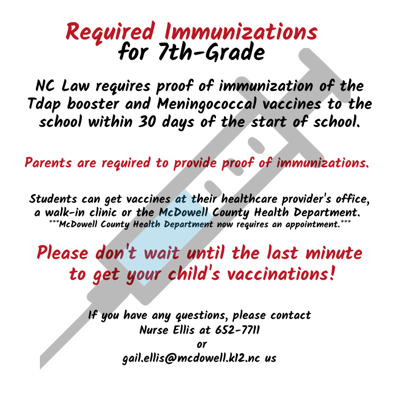 Required Immunizations for 7th-Grade