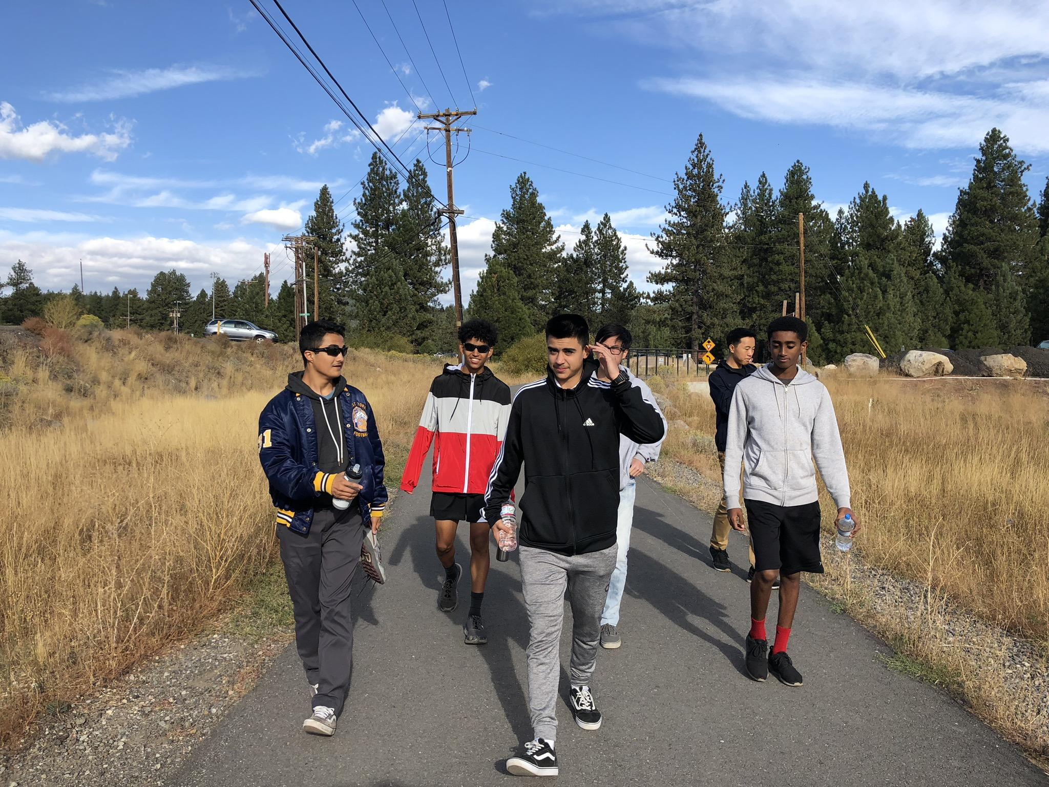 Photo of 2018 Del Mar Cross Country Team Boys hiking at Lake Tahoe
