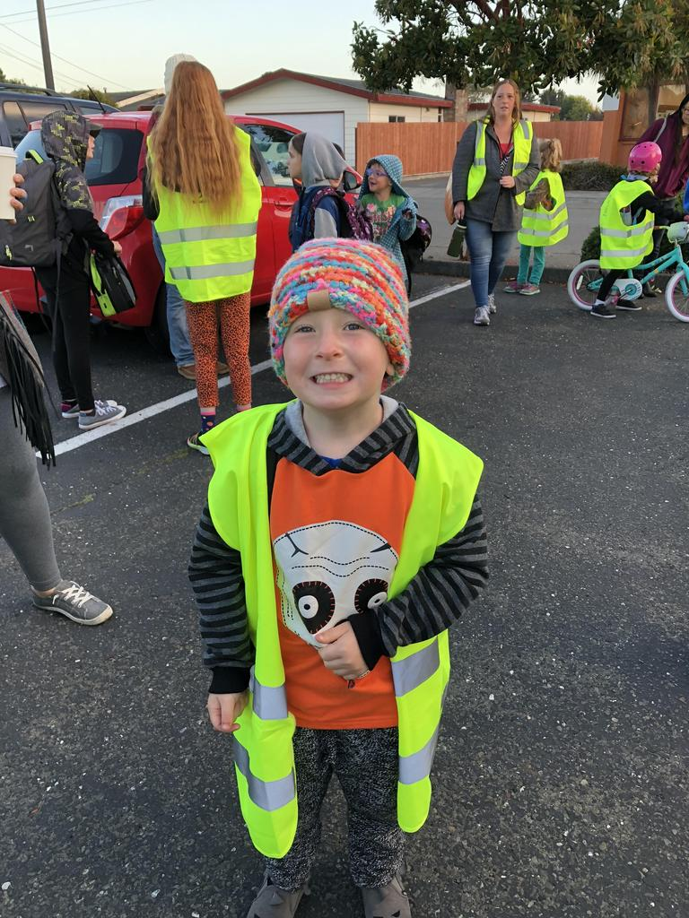 excited kiddo with safety vest