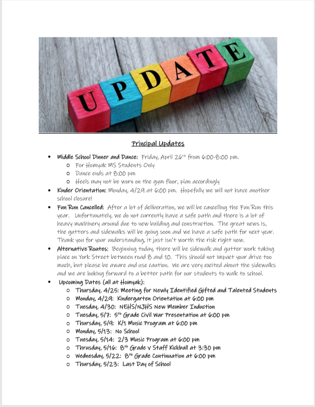 Principals Updates