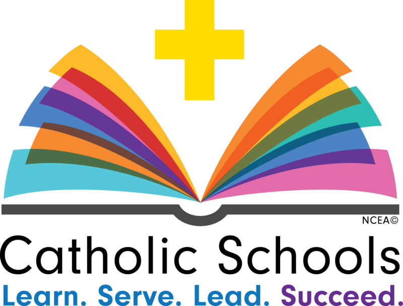 Image of open book with colorful pages. Text reads Catholic Schools - Learn, Serve, Lead, Succeed.