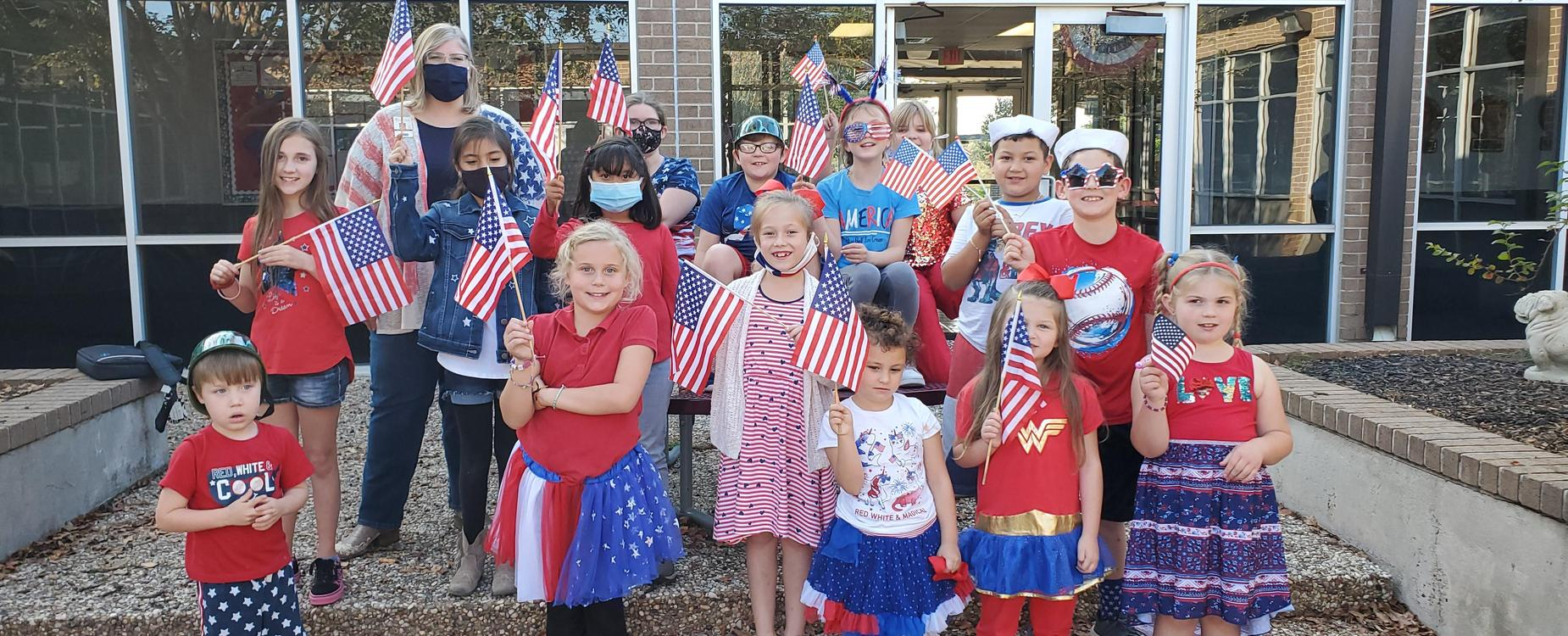 Veterans Day Students in red, white and blue